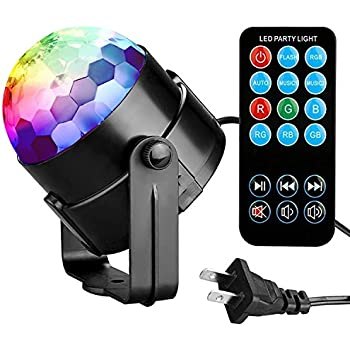 Party Lights Disco Ball Tabiger Disco Lights DJ Light Sound Activated  Strobe Light 3W 7 Colors