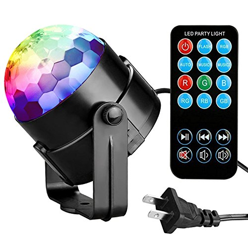 Party Lights Disco Ball Tabiger Disco Lights DJ Light Sound Activated Strobe Light 3W 7 Colors Stage Lights Xmas Karaoke Disco Ball Light for Kids Birthday Home Party Club Pub -