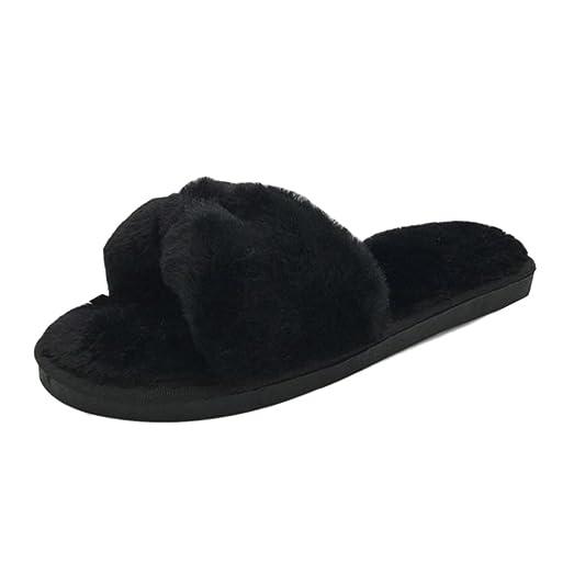 Faux Fur Slipper Inkach Women Open Toe Slip On Fluffy Plush Flat Sandals Fuzzy Flip Flops Shoes