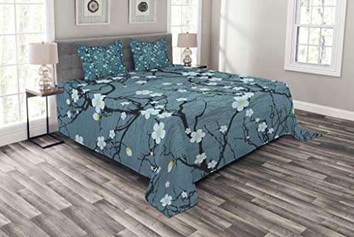 Lunarable Floral Coverlet Set King Size, Sakura Tree Branches Pale Japanese Cherry Blossom Spring Kitsch, Decorative Quilted 3 Piece Bedspread Set with 2 Pillow Shams, Blue