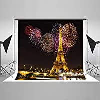 Kate 7x5ft Light Night Eiffel Tower Backdrop Night Scenery Firework Background Children Photography