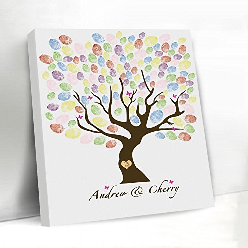 Wedding Guest Book Alternative Canvas Fingerprint Tree Ink
