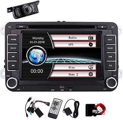Reserva de la cámara libres incluyen reproductor de doble din coche estéreo DVD GPS para Volkswagen radio auto Bluetooth 2 Din pantalla táctil soporte USB SD Logo SWC del coche en varios