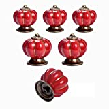 Ceramic Knobs 6-Pack Yazer Multi-Color Pumpkin Durable Unique Knobs Vintage Handles/Pulls for Kitchen Cabinet Cupboard Door Baby Furniture (Red)