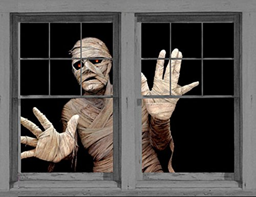 Window Menacing Mummy Halloween Window