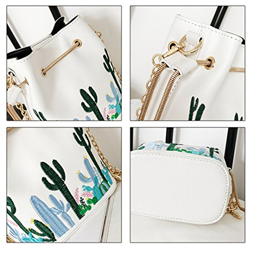 Heidi White Small Mini Shoulder Bucket Cross Leather Satchel Bag Bags Women Drawstring body Purses Bucket 6qwrpZ6