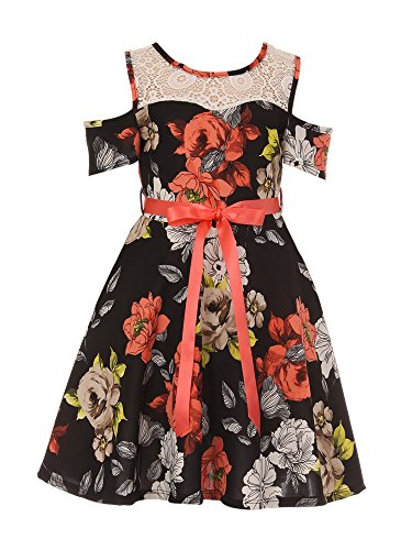 Flower Girl Dress Flower Print One Piece Off Shoulder Dress for Big Girl Black 14 (Holy Communion Dresses Shops)