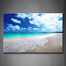First Wall Art - Clear Beach Small Waves And Sunny Sky Wall Art Painting The Picture Print On Canvas Seascape Pictures For Home Decor Decoration Gift