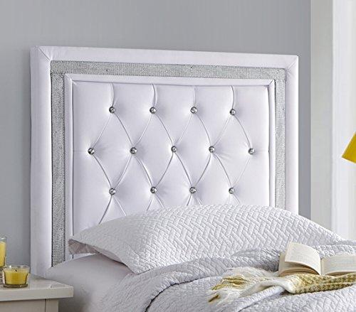 (Tavira Allure College Dorm Headboard - White with Silver Crystal Border (Small)
