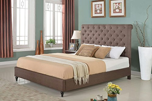"Home Life Cloth Brown Linen 51"" Tall Headboard Platform Bed with Slats Full - Complete Bed 5 Year Warranty Included 008"