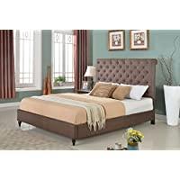 Home Life Cloth Brown Linen 51 Tall Headboard Platform Bed with Slats King - Complete Bed 5 Year Warranty Included 008