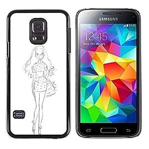 LECELL--Funda protectora / Cubierta / Piel For Samsung Galaxy S5 Mini, SM-G800, NOT S5 REGULAR! -- White Sketch Dress Fashion Pencil --