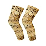 Knee Sleeve Vintage Music Note Full Leg Brace Compression Long Sleeves Pads Socks for Meniscus Tear, Arthritis, Running, Workout, Basketball, Sports, Men and Women 1 Pair