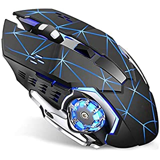 Wireless Gaming Mouse with Unique Silent Click, Breathing Backlight, 2 Side Buttons, (2400, 1600, 1200, 800) DPI, Ergonomic Handle, 6 Buttons, Suitable for PC Notebook Gamers.