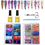 Kalolary 20 Color Starry Sky Stars Nail Art Foil with Nail Glue, Holographic Nail Art Transfer Stickers DIY Decoration, UV LED Lamp Required