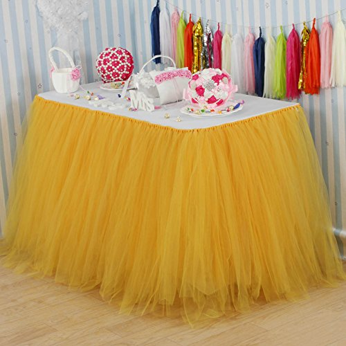 vLovelife 100cm Gold Tulle Tutu Table Skirt Tableware TableCloth Party Baby Shower Birthday Wedding Decorations Favor Customized Size Available ()