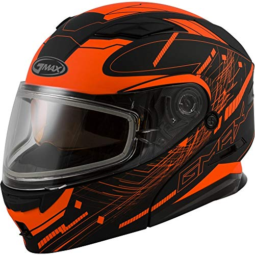 - GMAX MD-01S Modular Wired Adult Snowmobile Helmet - Black/Neon Orange / 2X-Large