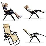 Ezcheer Zero Gravity Chair, 2 Pack 35.4x25.6x43.3 inch Patio Lounge Chair | Comfortable Outdoor Beach Camping Chair with Cup Holder 330lbs Weight Capacity