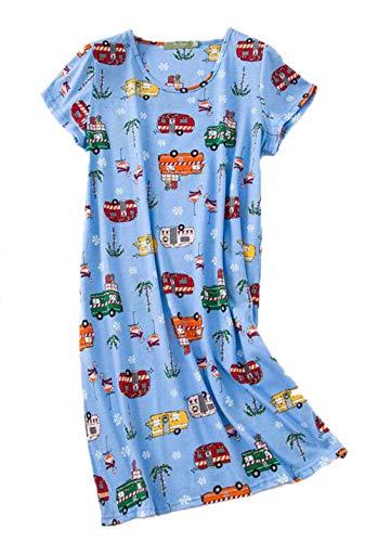(PNAEONG Women's Cotton Nightgown Sleepwear Short Sleeves Shirt Casual Print Sleepdress XTSY108-Blue)