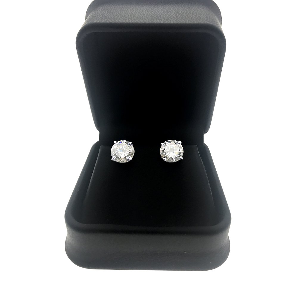 DTLA Solid 14k White Gold Stud Earrings with Round Cubic Zirconia Screw Back - 1.5 carats by DTLA Fine Jewelry (Image #2)