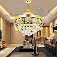 COLORLED Modern Crystal Gold Ceiling Fan Light Kit for Living Room Bedroom 42-Inch Four Telescopic Blades Fan Chandeliers Lighting Fixture (Gold)