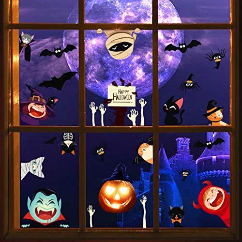 Halloween Pumpkin Cartoon Wall Decals, Terror Mummy Hand Bone Stickers for Door, Animal Cats Spider Bats Wall Art for Kids, Party Window Cling Decoration (Hands Mummy)