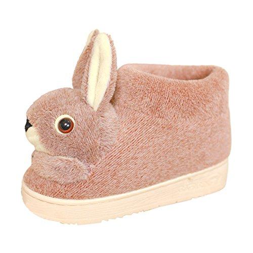 Eastlion Women Cute Animal Shape Slippers Winter Indoor Anti-skid Keep Warm Slipper Shoes Fleece Slippers House Slippers Home Shoes Light Coffee with Heel