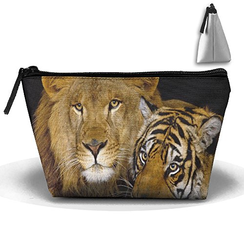 Fengyaojianzhu Tiger Lion Portable Make-up Receive Bag Storage Capacity Bags For Travel With Hanging Zipper