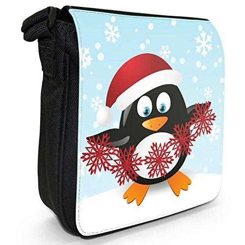 Making Black Decorations Christmas Holiday Bag Small Season Penguins Canvas Size Snowflake Shoulder PqzWqgT6w