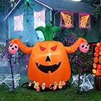 Dreamone 4 Foot Inflatable Pumpkin with Skull Halloween Party Decorations