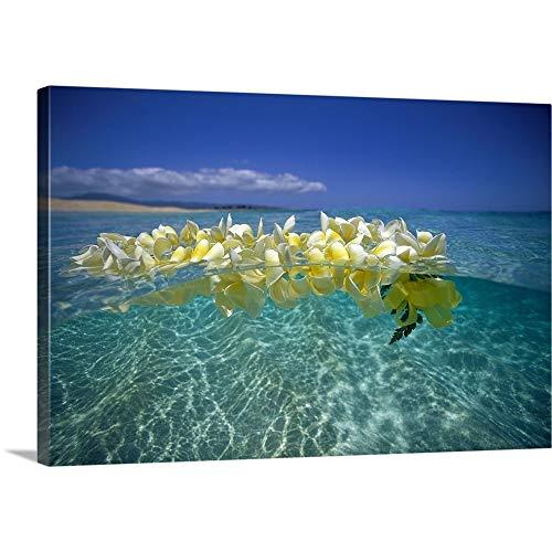 Plumeria Lei Floating On Ocean Surface Canvas Wall Art Print, 48