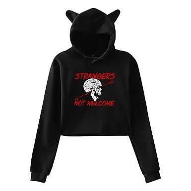 171e654d8981 Women s Long Sleeve Crop Top Hoodies Strangers Not Welcome Skull Cat Ear  Lumbar Hoodie Pullover Sweater