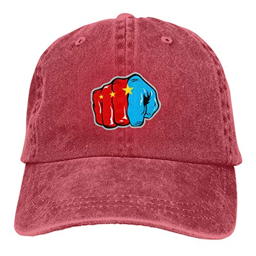 6amLifestyle Unisex Pound for Pound Manny Pacquiao Game Logo Washed Dyed Baseball Caps Snapback Adjustable Sun Visor Hat Red -