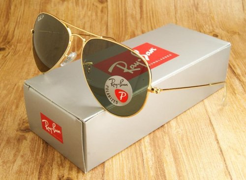 Ray-Ban Rb3025 Polarized Original Aviator Sunglasses, Gold, Size 58 ()