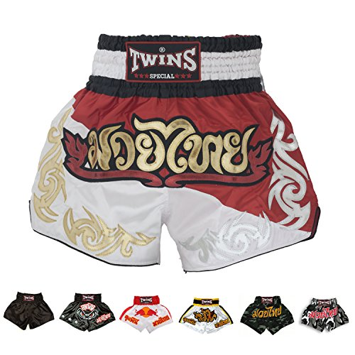 Twins Special Muay Thai Boxing Shorts (T-8 Duo Red/White,S)