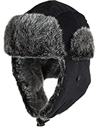 Corduroy Aviator Trooper Trapper Hat Winter Cap Warm Faux Fur