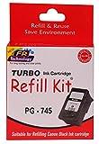 Turbo refill kit for canon 745 black ink cartridge