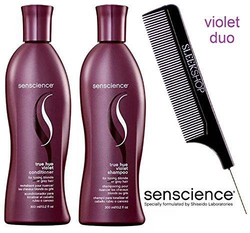 Senscience TRUE HUE VIOLET Shampoo & Conditioner for toning BLONDE hair DUO Set (with Sleek Steel Pin Tail Comb) (10.2 oz / 300 ml - RETAIL DUO Kit)