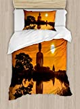 Ambesonne Asian Duvet Cover Set Twin Size, Big Giant Statue by The River at Sunset Thai Asian Culture Scene Yin Yang Print, Decorative 2 Piece Bedding Set with 1 Pillow Sham, Burnt Orange