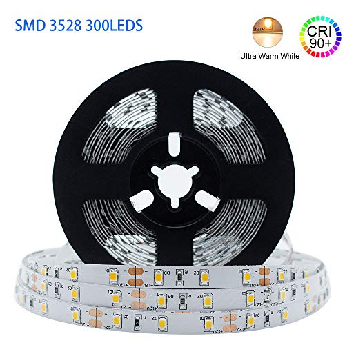 LightingWill LED Strip Lights CRI90 SMD3528 150LEDs 16.4Ft/5M Ultra Warm White 2700K-3000K DC12V 12W 30LEDs/M 2.4W/M 8mm White PCB Flexible Ribbon Strip with Adhesive Tape Non-Waterproof H3528UWW150N