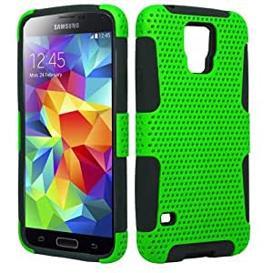 Black Green Hard Soft Gel Dual Layer Stand Cover for Samsung Galaxy S5 X6Q5S