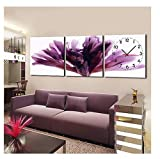 Wall Clocks Large Decorative Modern Floral Purple in Canvas 3pcs Wall Clocks Large Decorative Luxury, Wall Clock Decorative Living Room (2, 20''x20'')