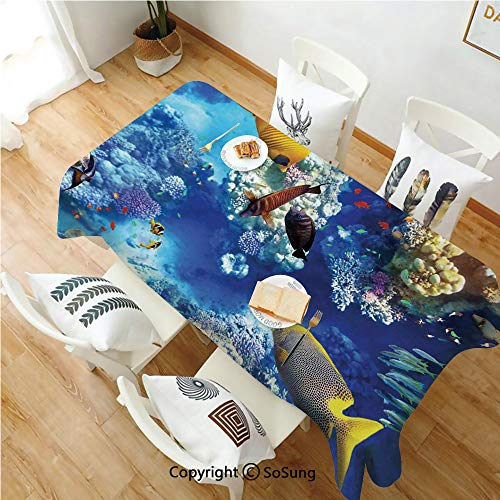 - SoSung Ocean Rectangle Polyester Tablecloth,Wild Underwater Sea Animal Aqua World Corals Tropical Fishes and Stingray,Dining Room Kitchen Rectangle Table Cover,60W X 84L inches,Navy Blue and Yellow