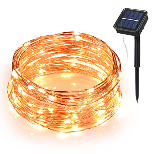 Ihomy Solar Powered String Lights, 33ft 100 LEDs Waterproof Fairy Lights, Outdoor/Indoor Starry Copper Wire Lights, Decoration Lights for Gardens, Home, Wedding, Party, Christmas