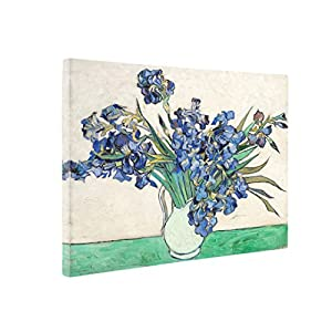 Niwo Art (TM - Vase with Irises, by Vincent Van Gogh - Oil Painting Reproductions - Giclee Canvas Prints Wall Art for Home Decor, Stretched and Framed Ready to Hang (16 x 20 x 0.75 Inch) 8