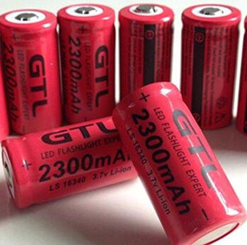 6 Pcs Red 16340 3.7V CR123A 123A CR123 2300mAh Rechargeab...