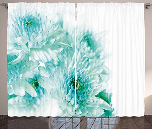 Cheap Ambesonne Aqua Curtains, Fresh Cluster Vibrant Indian Asian Dahlia Flowers Buds Leaves Image, Living Room Bedroom Window Drapes 2 Panel Set, 108 W X 84 L Inches, Blue Light Blue and Turquoise
