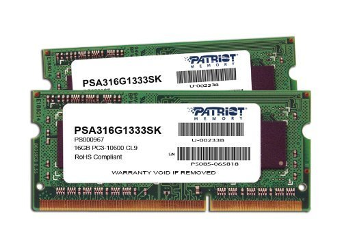 Memoria RAM 16GB Patriot Mac Series Apple SODIMM Kit (2X8GB) DDR3 1333 PC3 10600 204-Pin SO-DIMM PSA316G1333SK