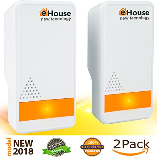 Ultrasonic Pest Repeller - (2 Pack) Electronic Plug in Best Repellent - Pest Control - Get Rid Of - Rodents Squirrels Mice Rats Insects - Roaches Spiders Fleas Bed Bugs Flies Ants Mosquitos Fruit Fly. (In Electronic Plug Repeller Rodent)