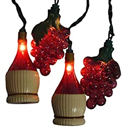 Sienna Set of 10 Tuscan Winery Grape & Wine Bottle Patio Christmas Lights - White Wire